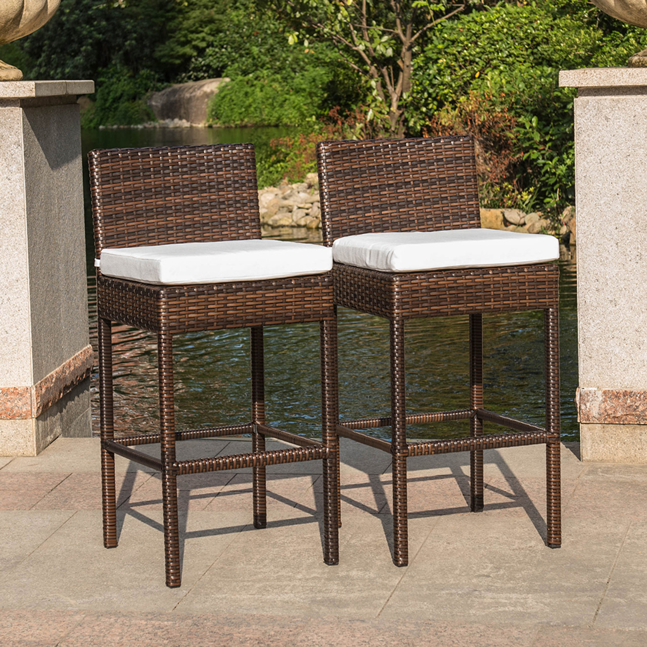 patio garden wicker swivel bar stool with cushion and throw pillow