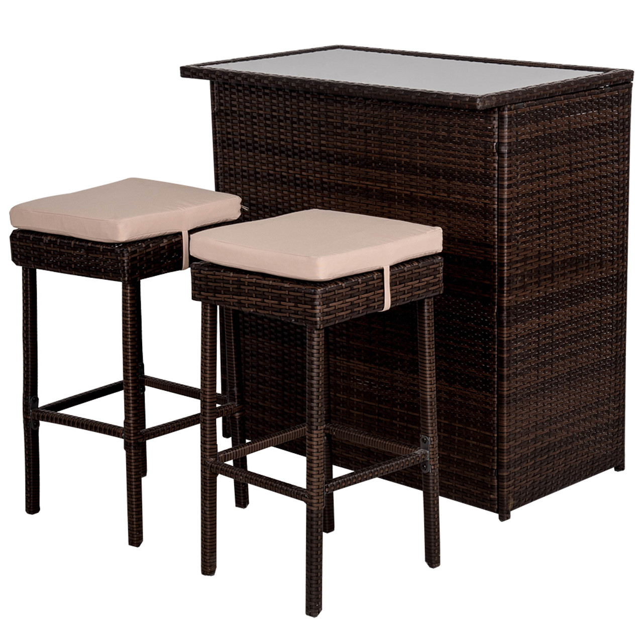 Deluxe 3pc Rattan Wicker Bar Set With Cushions And 2 Stools