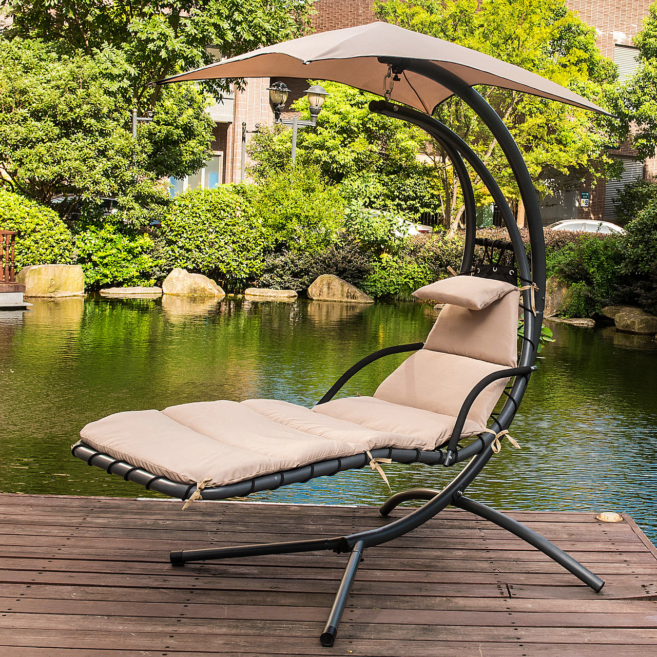 Awesome Lazy Daze Hammocks Dream Chair With Umbrella Hanging Chaise Lounge Chair  Arc Curved Hammock (Taupe