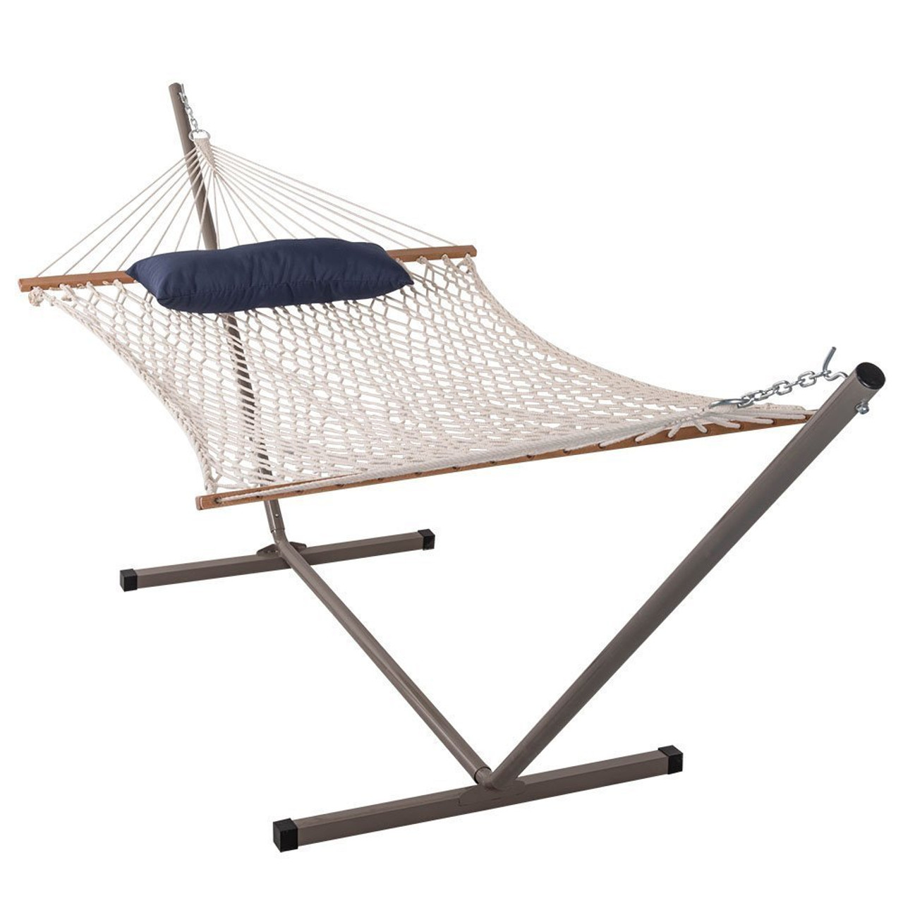 lazy daze hammocks cotton rope hammock with 12 feet steel stand and pillow  bo cotton rope hammock with 12 feet steel stand and pillow  bo  rh   sundaleoutdoor
