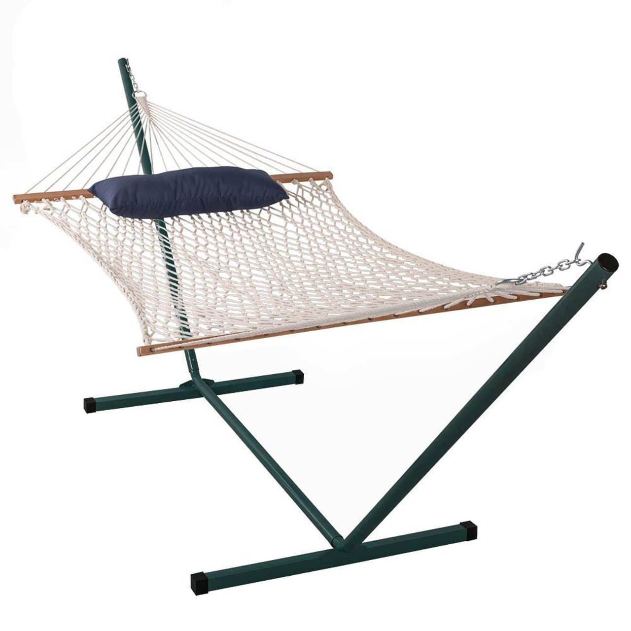lazy daze hammocks cotton rope hammock with 15 feet steel stand and pillow  bo cotton rope hammock with 15 feet steel stand and pillow  bo  rh   sundaleoutdoor