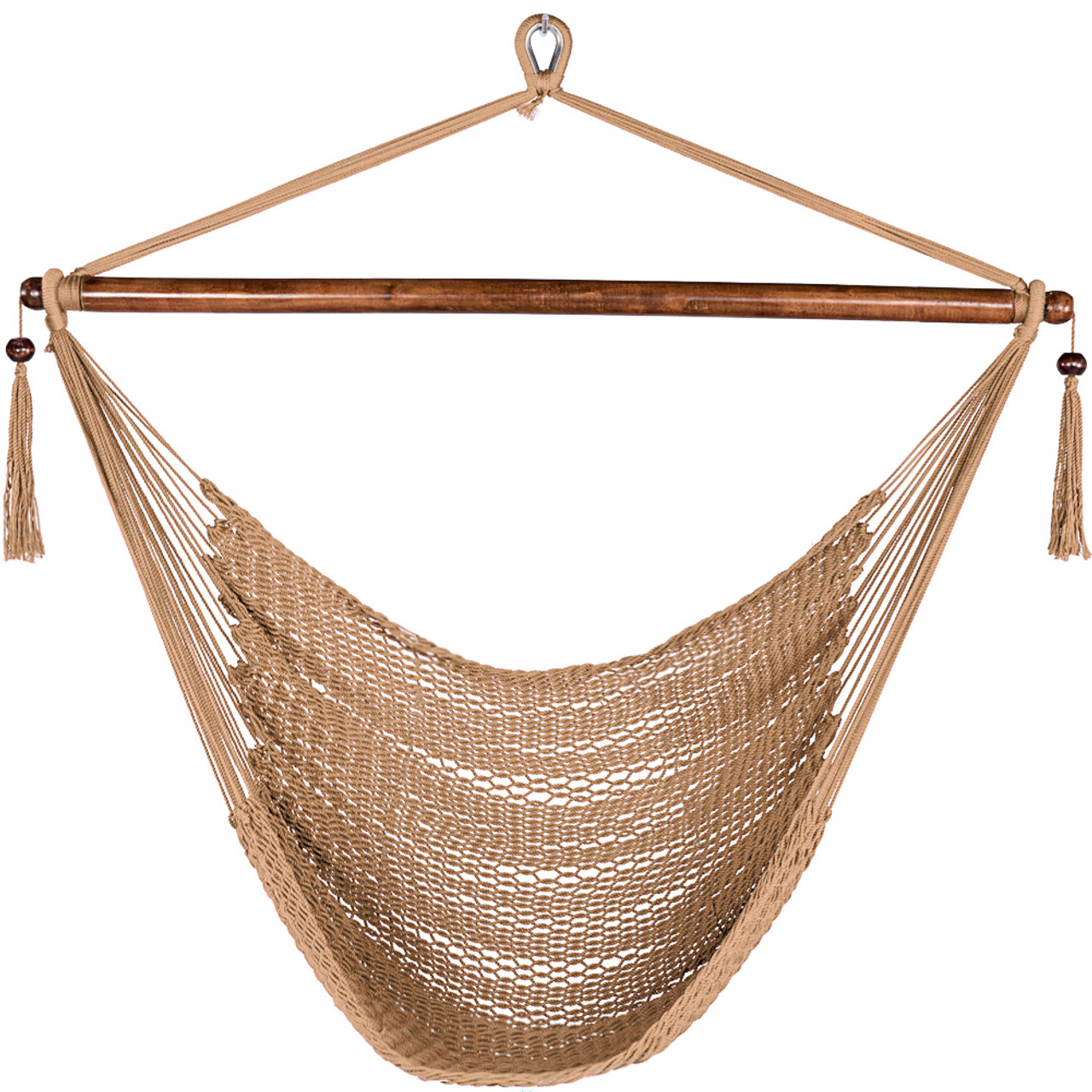 lazy daze hammocks caribbean hanging swing chair soft spun polyester rope 47 inch 47 inch poly rope hanging hammock swing chair with wood spreader      rh   sundaleoutdoor