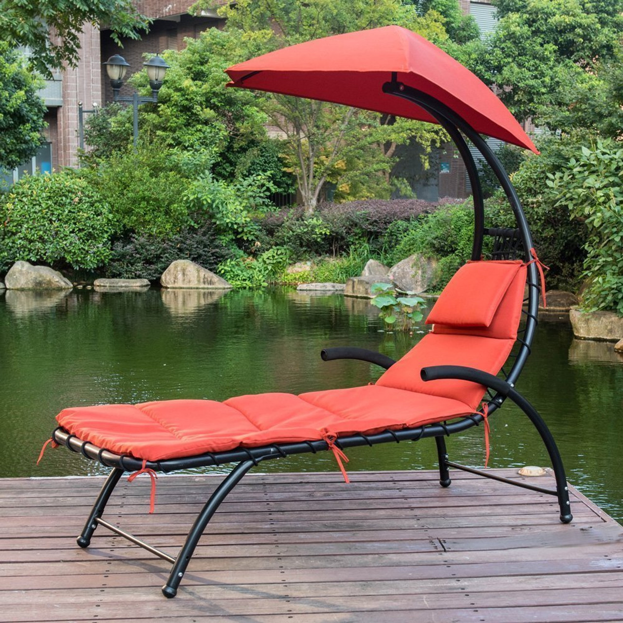 Sundale Outdoor Patio Dream Chaise Lounger Chair with Sun Shade Canopy & Patio Dream Chaise Lounger Chair with Sun Shade Canopy