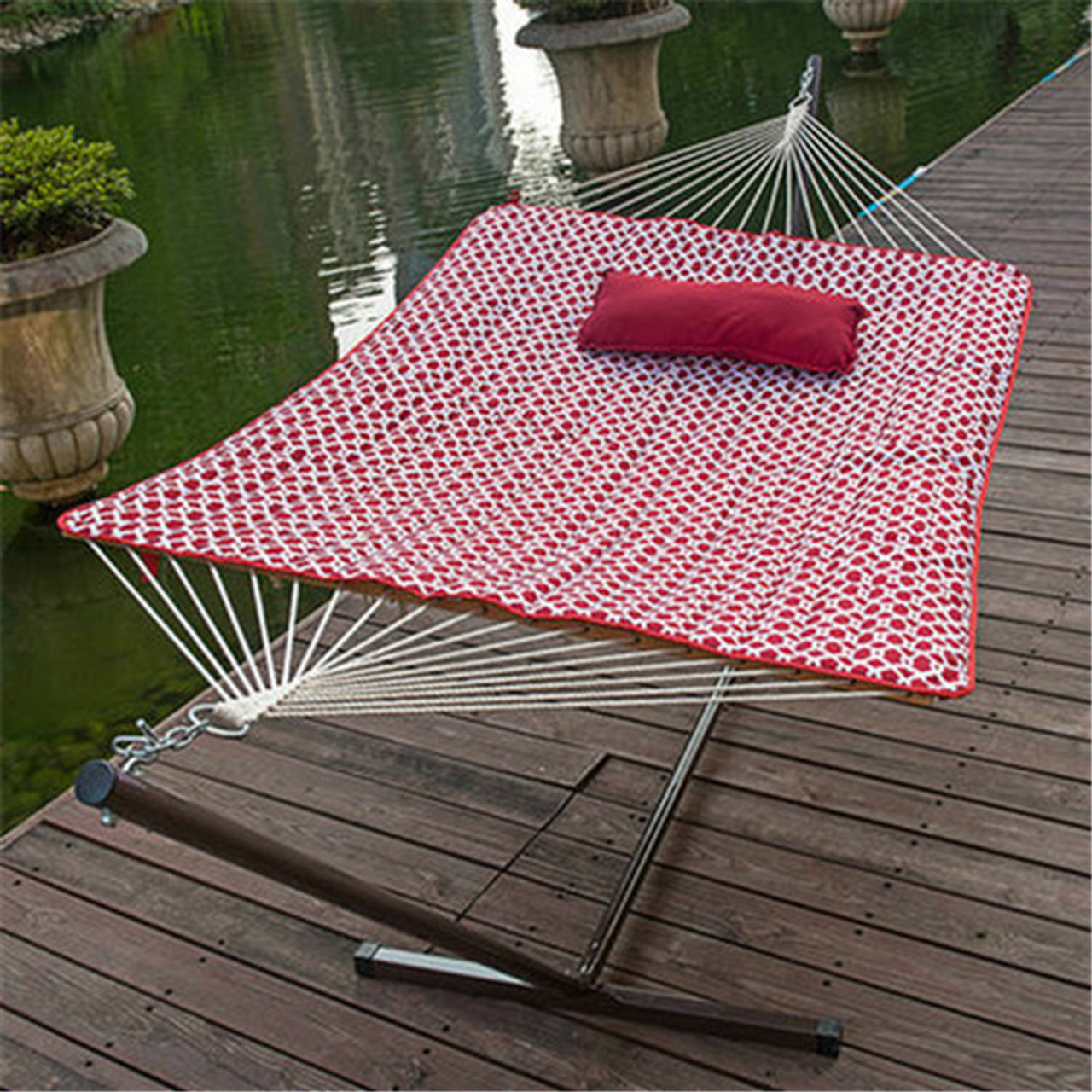 Medium image of lazy daze hammocks 12 feet steel hammock stand with cotton rope hammock  boquilted polyester