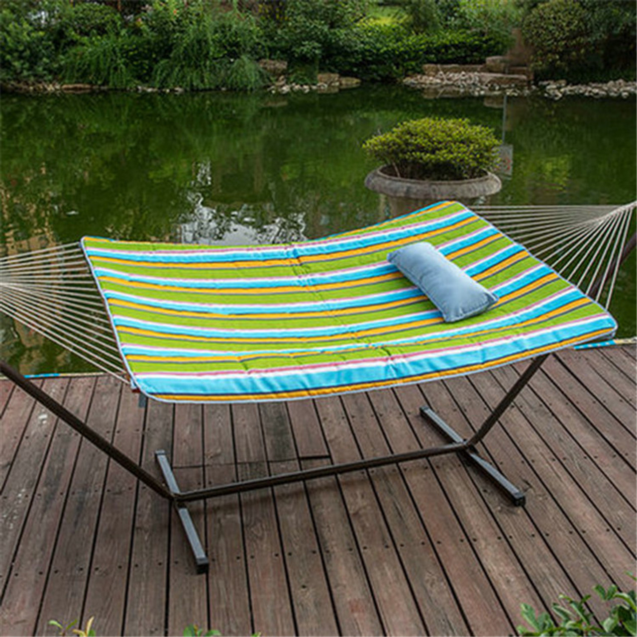lazy daze hammocks 12 feet steel hammock stand with cotton rope hammock  bo quilted polyester lazydaze hammocks 12 feet steel hammock stand with cotton rope      rh   sundaleoutdoor