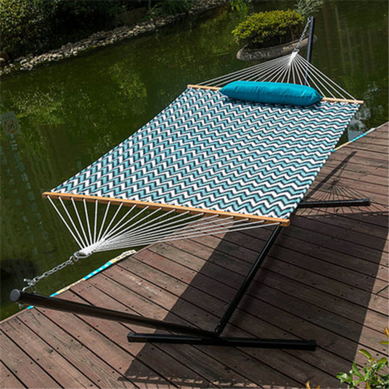 lazy daze hammocks 15 feet heavy duty steel hammock stand two person quilted fabric hammock 15 feet heavy duty steel hammock stand  two person quilted fabric      rh   sundaleoutdoor