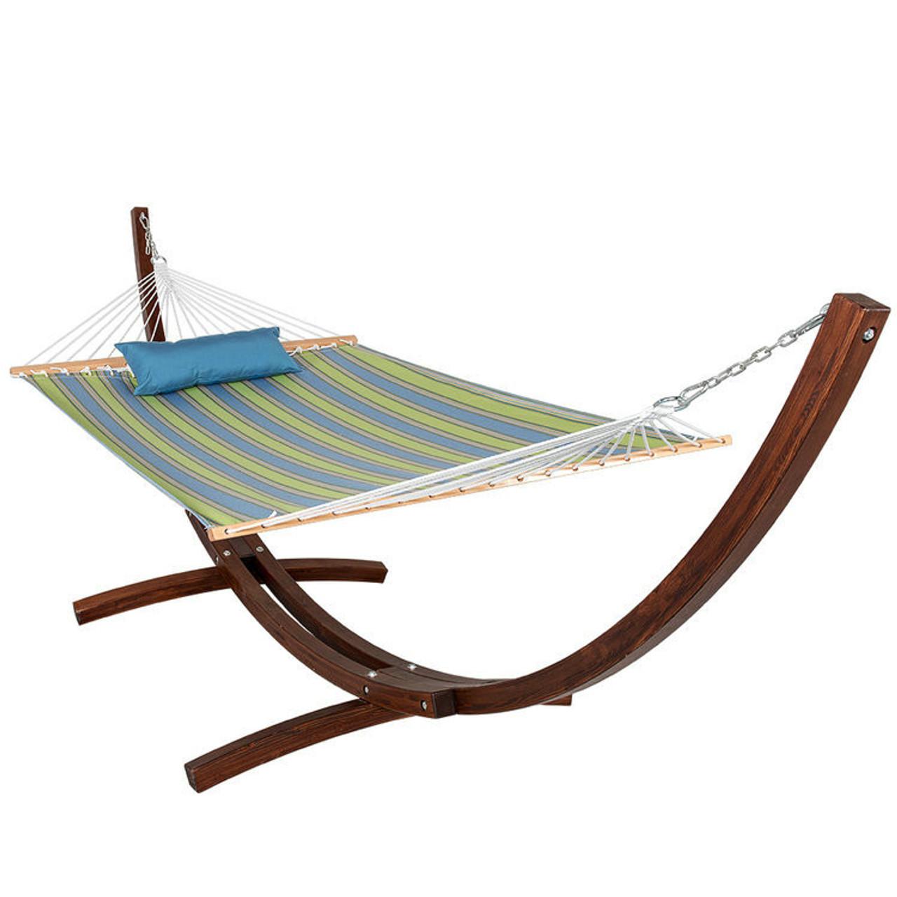 sunbrella fabric hammock pillow and 12 feet wood arc stand backyard  bo set 12 ft  wood arc hammock stand with 2 person double layer polyester      rh   sundaleoutdoor