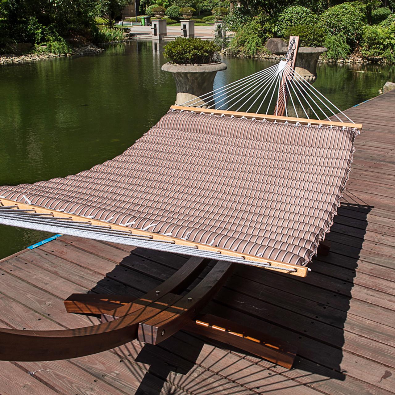 lazy daze hammocks 58 inch double size pillow top hammock swing bed with spreader bar heavy double pillow top hammock  cocoa   rh   sundaleoutdoor