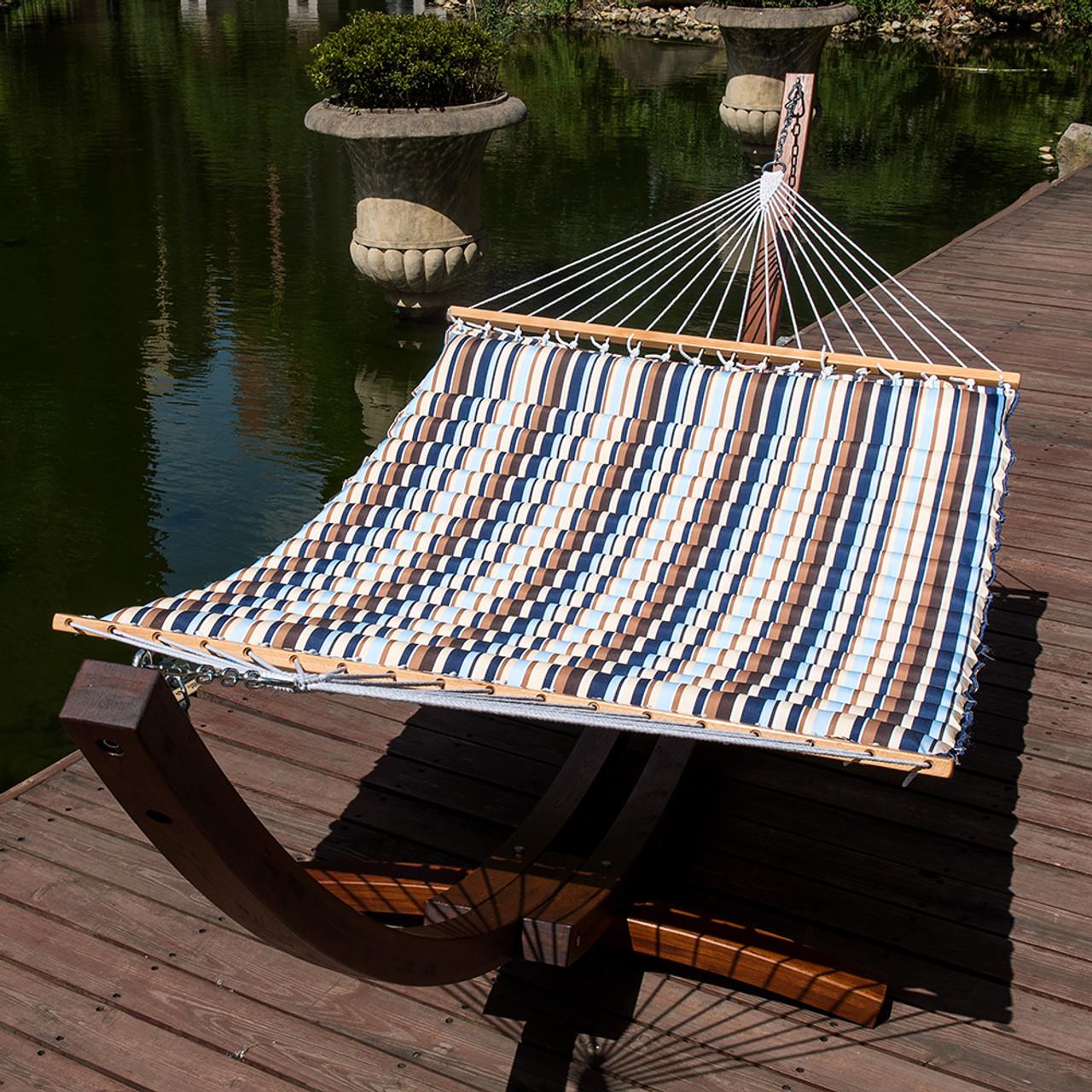 lazy daze hammocks 58 inch double size pillow top hammock swing bed with spreader bar heavy double pillow top hammock  seaside   rh   sundaleoutdoor