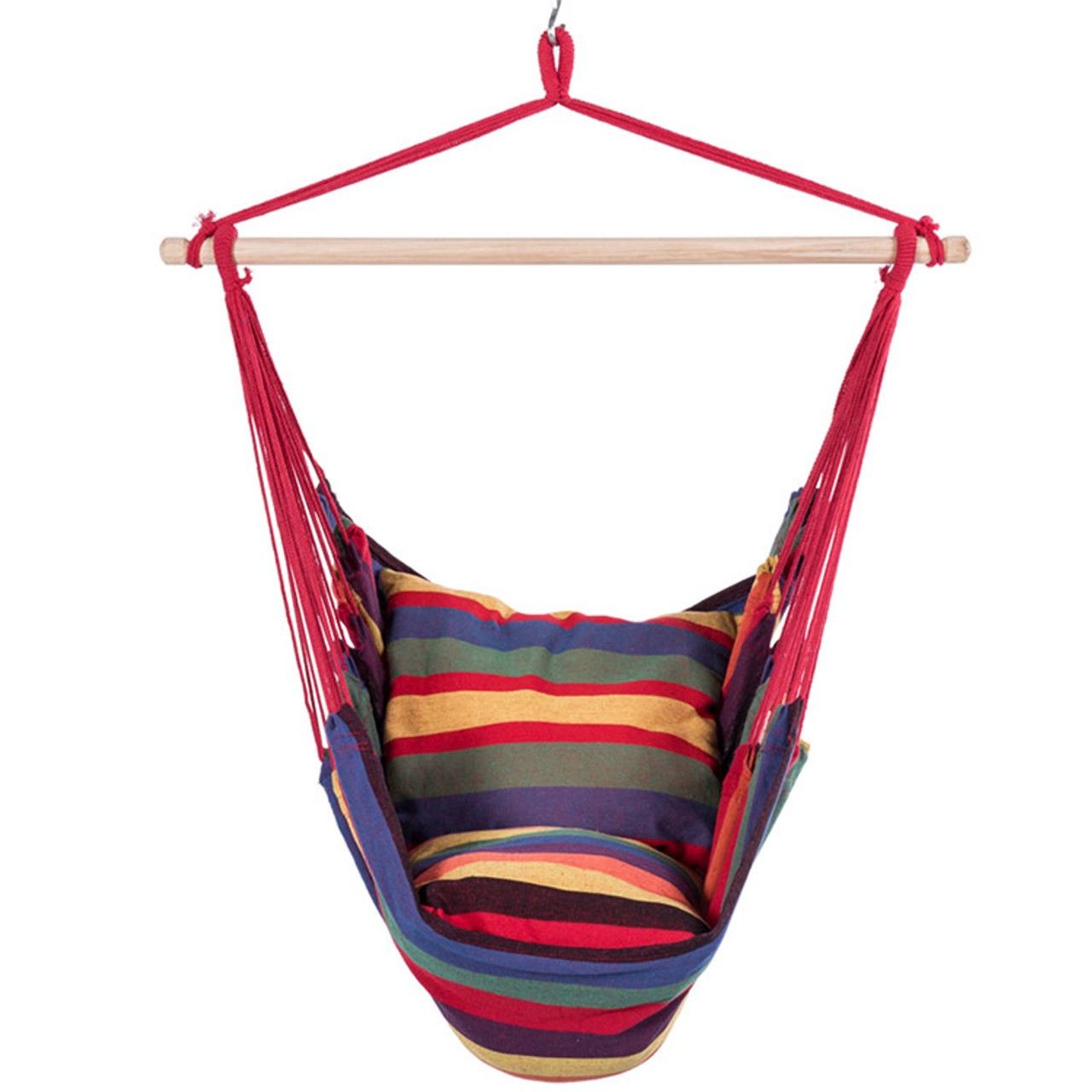 lazy daze hammocks hanging rope hammock chair swing seat with 2 seat cushions weight capacity canvas hanging hammock swing chair seat with wood spreader bar and      rh   sundaleoutdoor