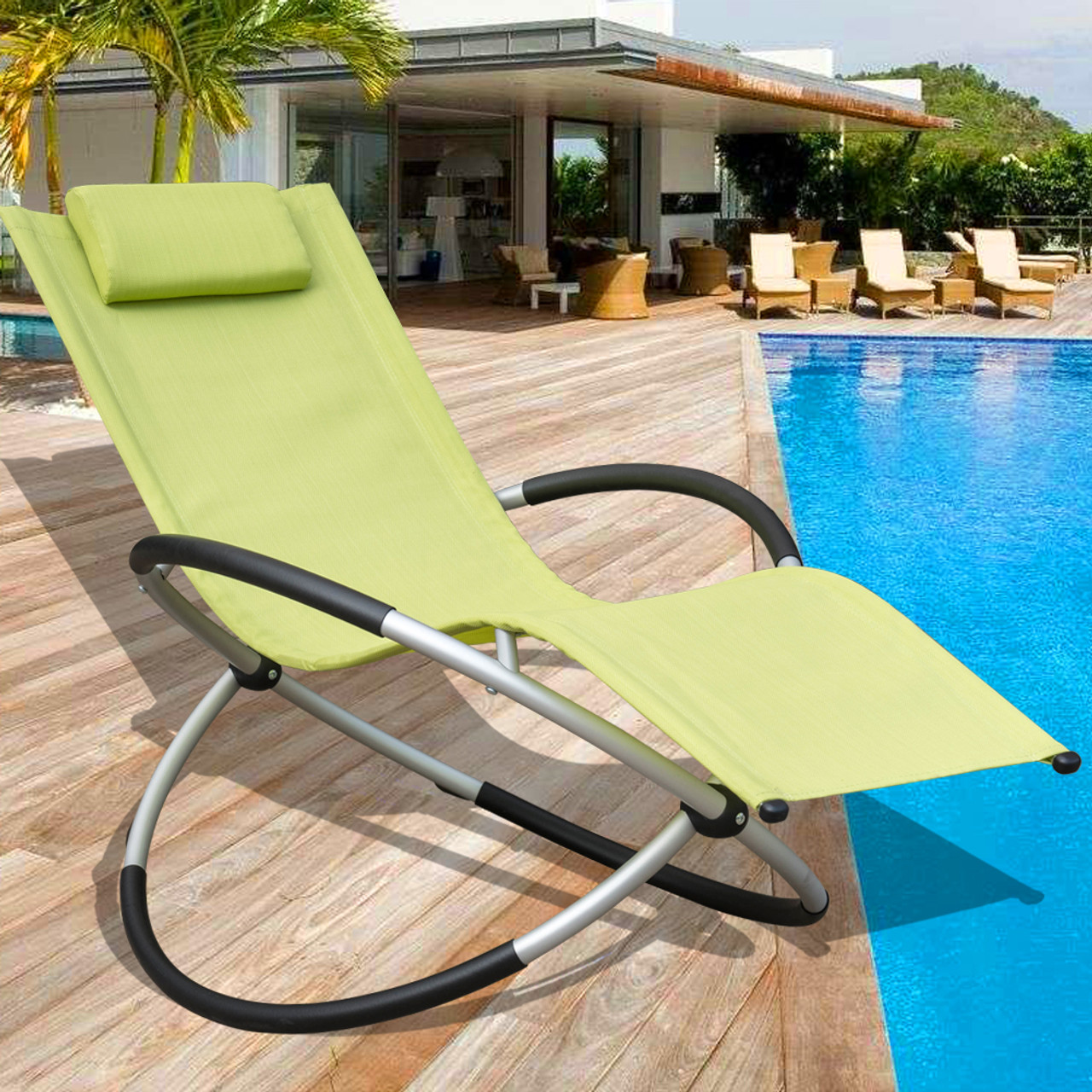 Zero Gravity Folding Rocking Patio Lounge Chair with Pillow