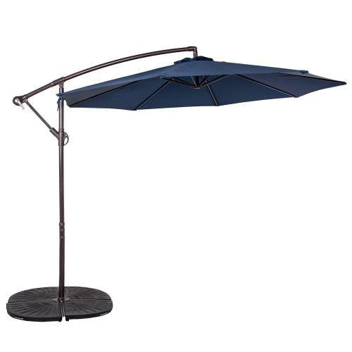 10 Feet Aluminum Offset Patio Umbrella(Navy Blue)