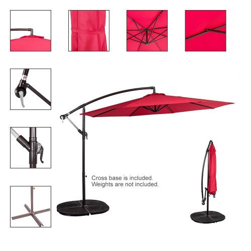 10 Feet Aluminum Offset Patio Umbrella(Red)
