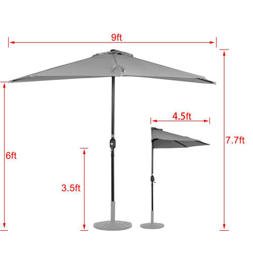 9 Feet Steel Half Patio Umbrella with Crank 5 Steel Ribs (Dark Green)  sc 1 st  Sundale Outdoor & Feet Steel Half Patio Umbrella with Crank 5 Steel Ribs (Dark Green)