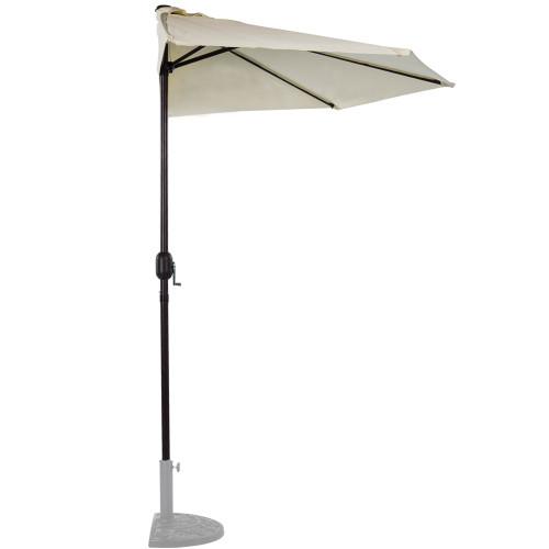 9 Feet Steel Half Patio Umbrella with Crank, 5 Steel Ribs (Light Yellow)