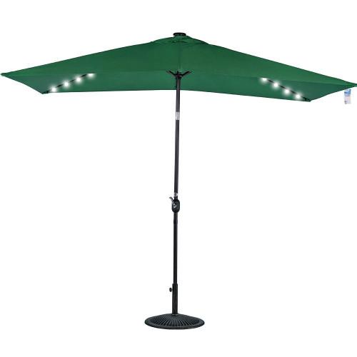 Rectangular Solar Powered 22 LED Lighted Outdoor Patio Umbrella(Dark Green)