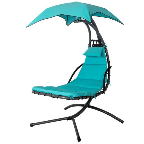 lazy daze hammocks dream chair with umbrella hanging chaise lounge chair arc curved hammock  lake dream chair lake blue   rh   sundaleoutdoor