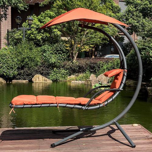 lazy daze hammocks dream chair with umbrella hanging chaise lounge chair arc curved hammock  brick dream chair brick red   rh   sundaleoutdoor