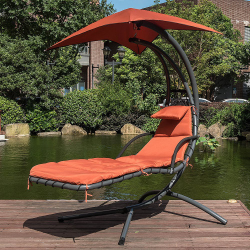 Lazy Daze Hammocks Dream Chair with Umbrella Hanging Chaise Lounge Chair Arc Curved Hammock (Brick Red)