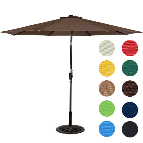 9 Feet Aluminum Patio Umbrella(Coffee)