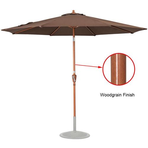 9 Feet Woodgrain Finish Patio Umbrella(Coffee)