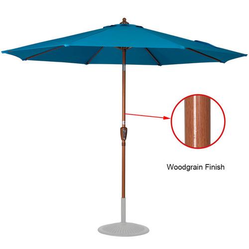 9 Feet Woodgrain Finish Patio Umbrella(Lake Blue)