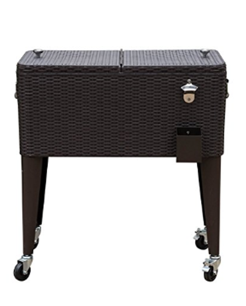 Deluxe 80 Quart Ice Chest Portable Patio Party Drink Cooler Cart With Rolling Wheels Brown Wicker