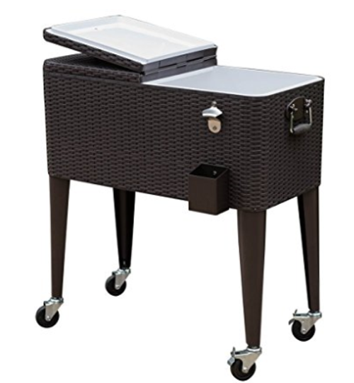 Deluxe 80-Quart Ice Chest Portable Patio Party Drink Cooler Cart with Rolling Wheels,Brown Wicker