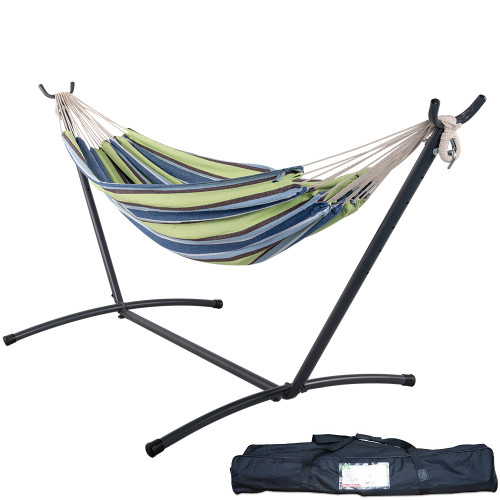 Lazy Daze Hammocks Double Hammock with Space Saving Steel Stand Includes Portable Carrying Case, 450 Pounds Capacity (Green Stripe)