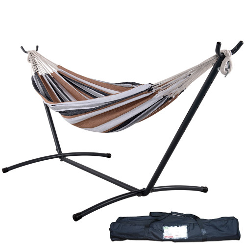 Lazy Daze Hammocks Double Hammock with Space Saving Steel Stand Includes Portable Carrying Case, 450 Pounds Capacity (Desert Stripe)