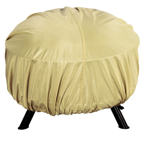 Patio Heavy Duty Weather Resistant Universal Round Fire Pit Cover with PVC Coating, fit up to 38-in Dia, Beige