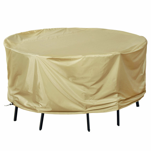 Patio Heavy Duty Round Table&Chair Set Cover with PVC Coating, fit up to 79Dia x 35H inches, Beige