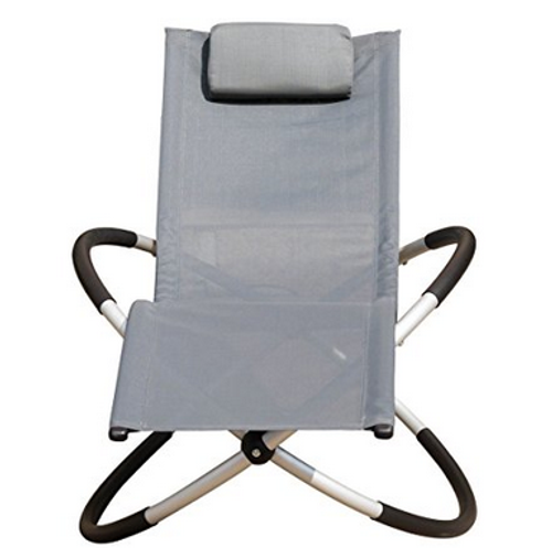 Orbital Zero Gravity Folding Rocking Patio Lounge Chair with Pillow,Capacity 250 Pounds,Gray
