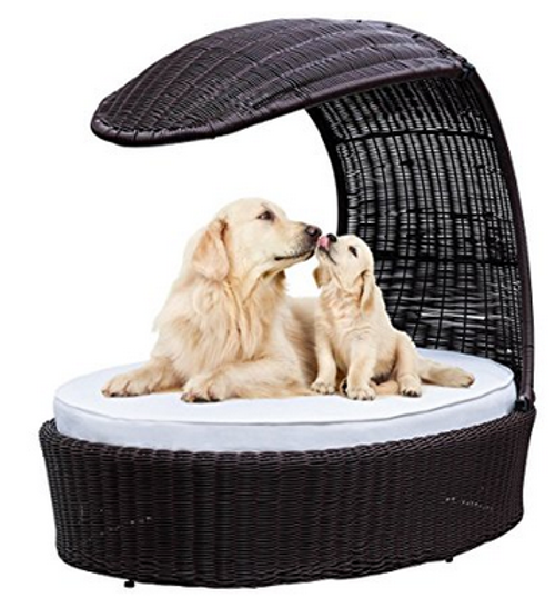 Pet Supplies Deluxe Wicker Rattan Ventilated Elevated Dog Bed with Shade Sail and Cushion,Weight Capacity 120 Pounds