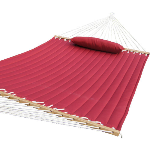 """Lazy Daze Quilted Fabric Hammock with Hardwood Spreader Bar and Poly Pillow, 55"""" Double Size, Red"""