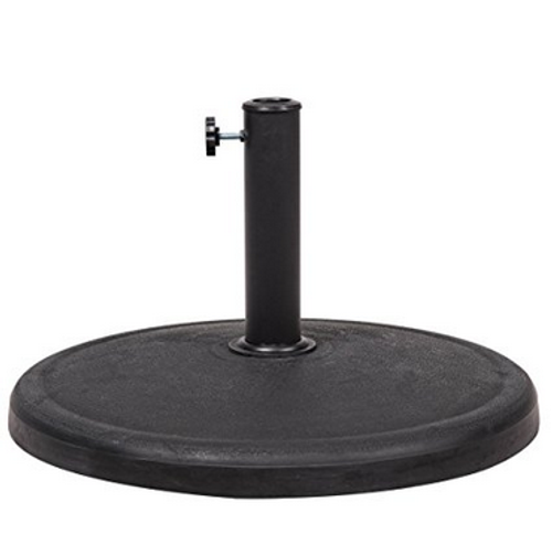 Universal Resin Black Patio Umbrella Base Metal Heavy Duty Stand, 21.5-in Diameter, 42 lbs