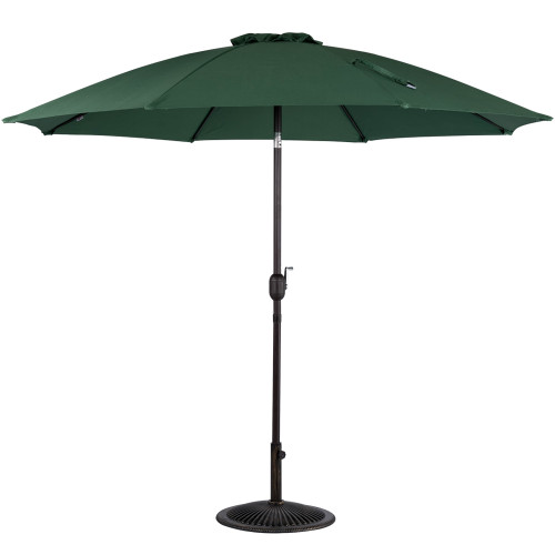 9 Feet Aluminum Patio Umbrella with Crank and Push Button Tilt(Dark Green)