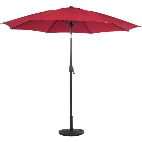 9 Feet Aluminum Patio Umbrella with Crank and Push Button Tilt(Red)