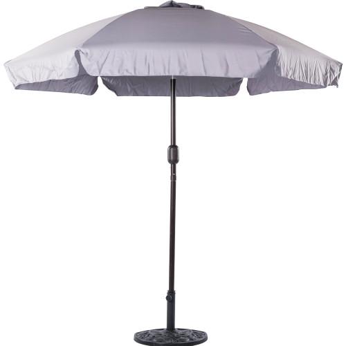 7.5 Feet Aluminum Beach Drape Umbrella with Crank and Push Button Tilt(Grey)
