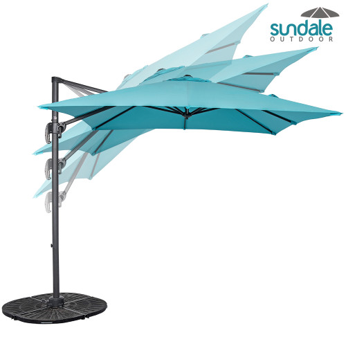 8.2ft Square Hanging Roma Offset Umbrella Outdoor Patio Sun Shade Cantilever Crank Canopy (Light Blue)
