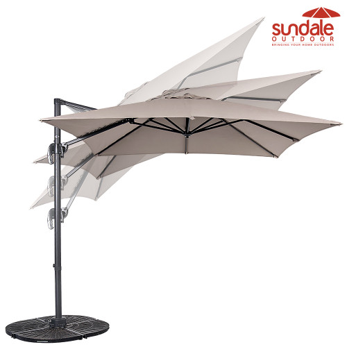 8.2ft Square Hanging Roma Offset Umbrella Outdoor Patio Sun Shade Cantilever Crank Canopy (Taupe)