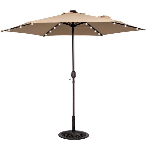 9ft 24 Led Light Outdoor Market Patio Umbrella Garden Pool with Crank, 6 Ribs (Khaki)