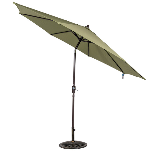 10 Ft Olefin Fabric Solution Dyed and UV Resistant Patio Garden Outdoor Market Umbrella with Auto Tilt and Crank (Pea Green)