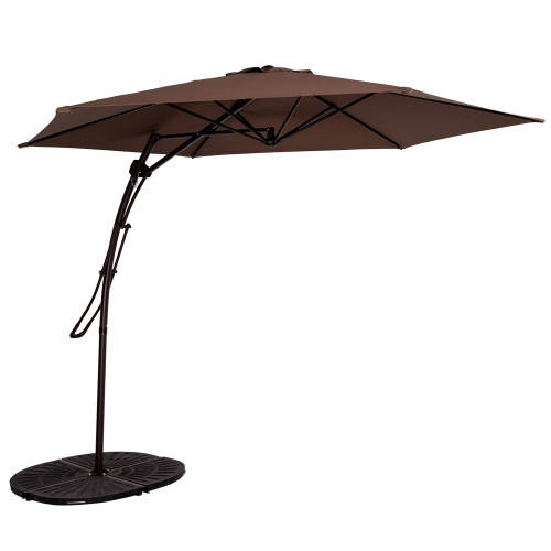 10 Feet Offset Patio Umbrella with Hand Push, 6 Steel Ribs (Coffee)