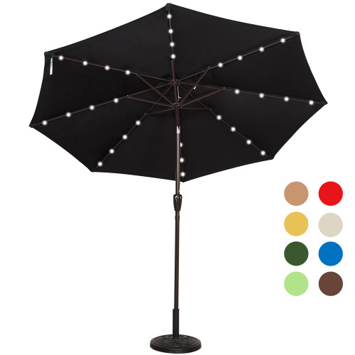 Solar Powered 32 LED Lighted Outdoor Patio Umbrella with Crank and Tilt, 9 Feet (Black)