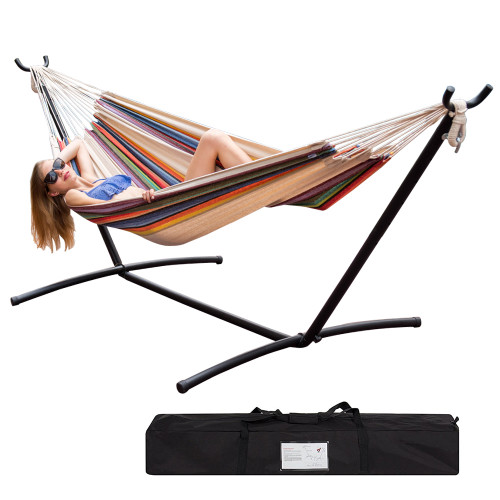 Lazy Daze Hammocks Double Hammock with Space Saving Steel Stand Includes Portable Carrying Case, 450 Pounds Capacity (Tan Stripe) …
