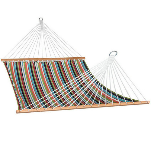 All Weather Sunbrella Fabric Hammocks with Spread Bar and Handcrafted Polyester Rope for Two Person, Fade Resistant, 450 lbs Capacity, Carousel Condetti, by Lazy Daze Hammocks