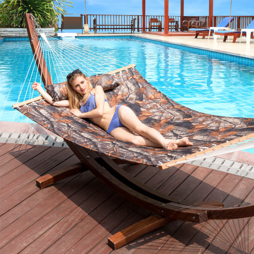 "Lazy Daze Hammocks 55"" Double Quilted Fabric Hammock Swing with Pillow (Camouflage)"