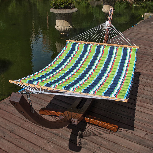 Lazy Daze Hammocks 58 Inch Double Size Pillow Top Hammock Swing Bed with Spreader Bar Heavy Duty for Two Person, 450 lbs Weight Capacity (Green/Blue Stripe)