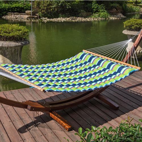 lazy daze hammocks 58 inch double size pillow top hammock swing bed with spreader bar heavy double pillow top hammock  green blue stripe   rh   sundaleoutdoor